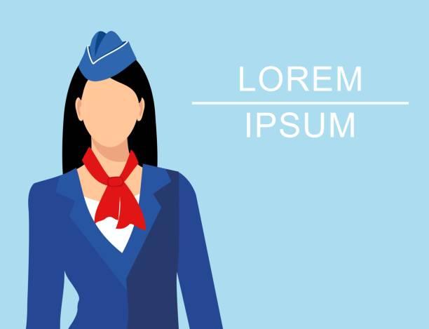 illustrazioni stock, clip art, cartoni animati e icone di tendenza di stewardess dressed in blue uniform - organizzatore della festa