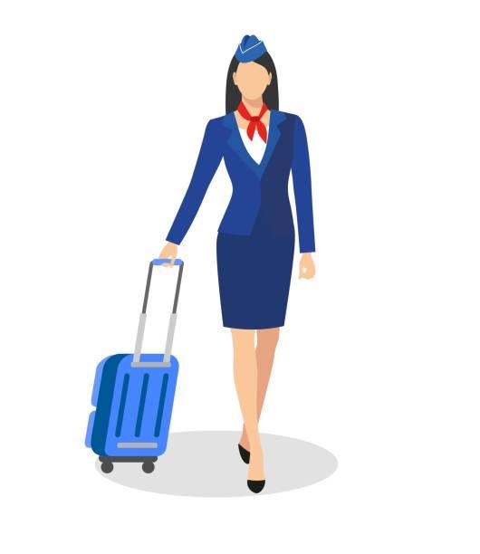 illustrazioni stock, clip art, cartoni animati e icone di tendenza di stewardess holding suitcase. - organizzatore della festa