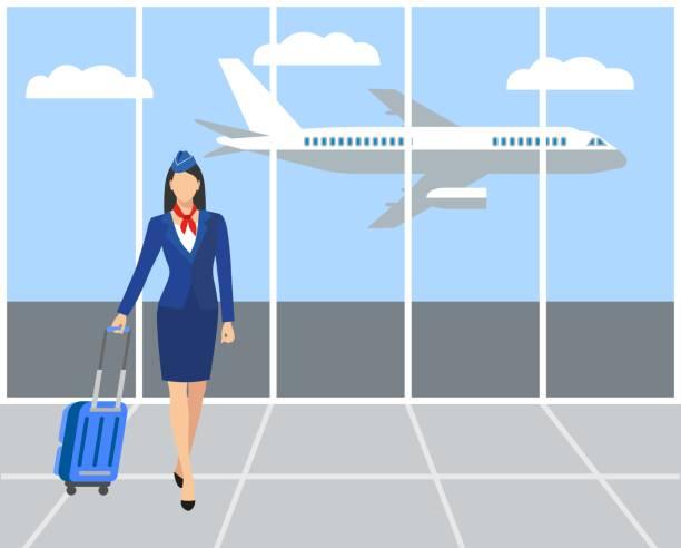 Stewardess Holding Suitcase. Stewardess Holding Suitcase. flying attendants ,air hostess , Vector illustration.Profession: stewardess. airport clipart stock illustrations