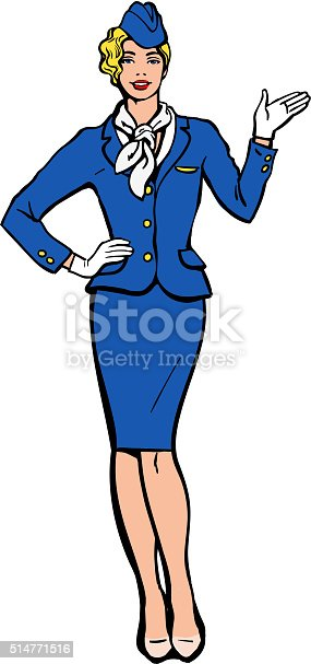 Blonde stewardess. Vector stewardess in blue uniform. Waitress shows up on the information. Image stewardess on a white background. Empty space for information. Stewardess in blue suit and gloves