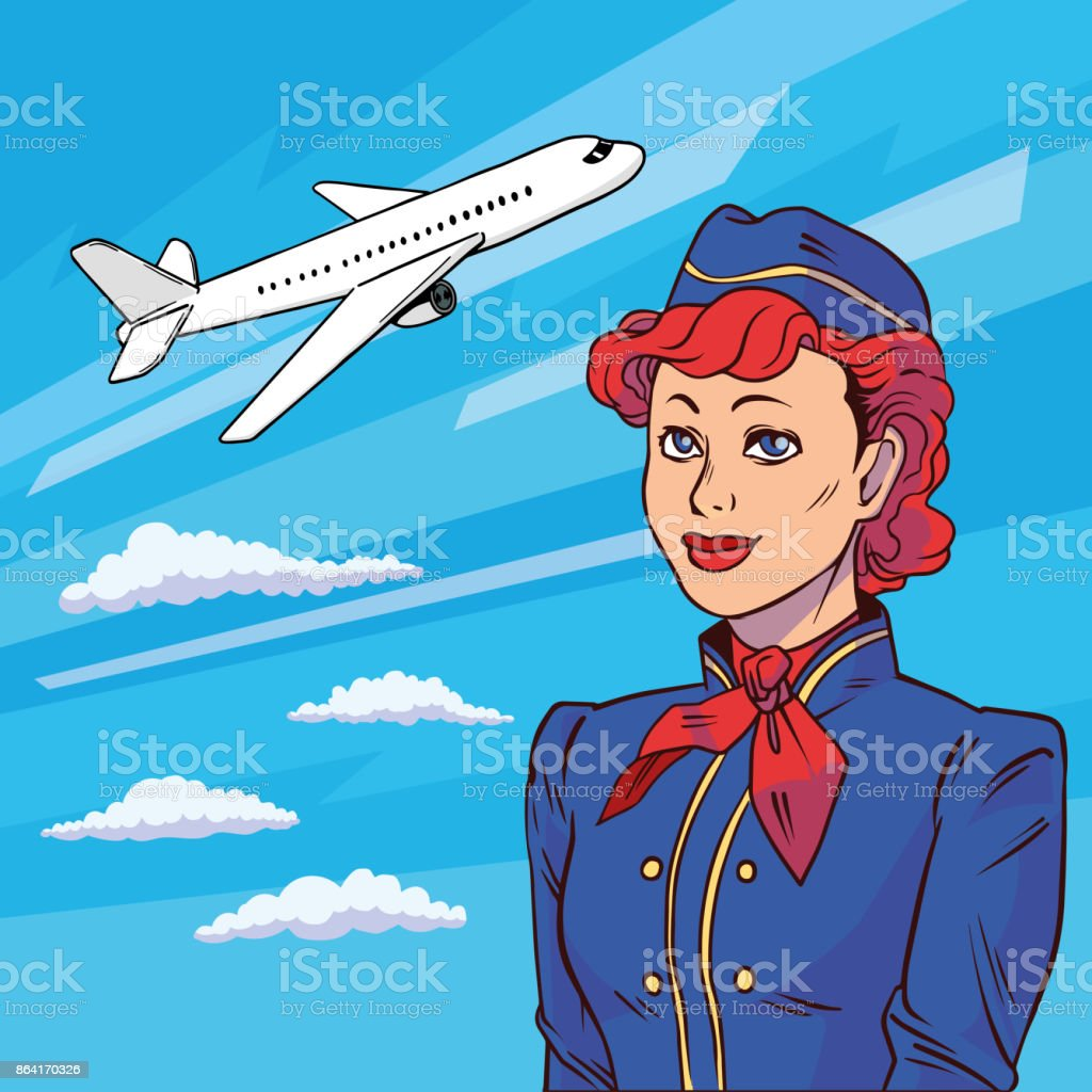 Stewardess in pop art style. Background plane takes off. Floating in clouds airplane. Welcome aboard. Vector illustration in comic style. royalty-free stewardess in pop art style background plane takes off floating in clouds airplane welcome aboard vector illustration in comic style stock vector art & more images of adult