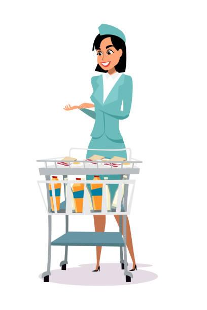 illustrazioni stock, clip art, cartoni animati e icone di tendenza di stewardess offers snacks flat vector illustration - organizzatore della festa