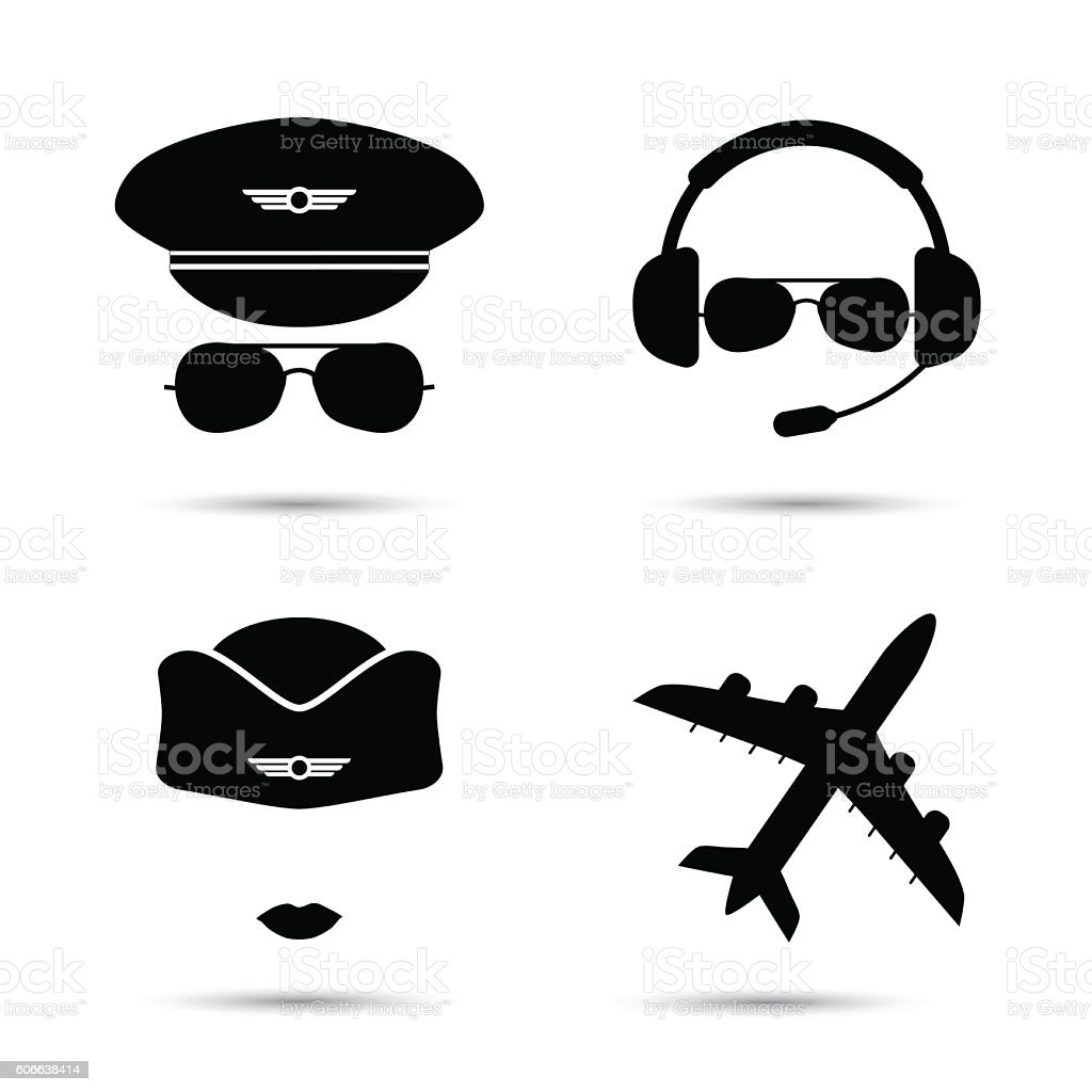 Stewardess, pilot, airplane vector icons