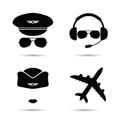 Stewardess, pilot, airplane vector icons