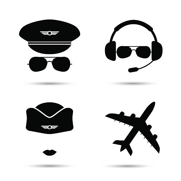 Stewardess, pilot, airplane vector icons vector art illustration