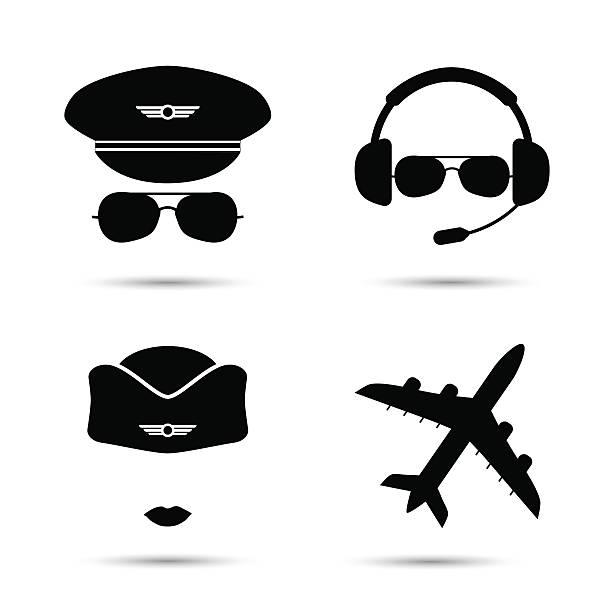 stockillustraties, clipart, cartoons en iconen met stewardess, pilot, airplane vector icons - stewardess