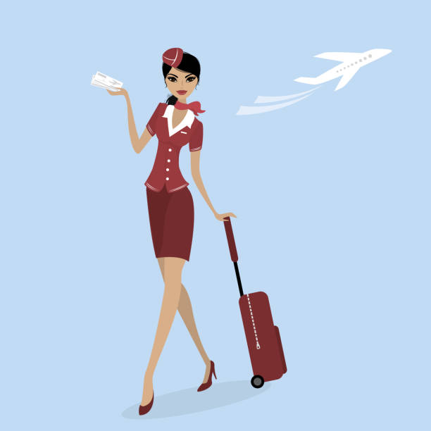 stewardess with a suitcase and a plane ticket - symbol seksu stock illustrations