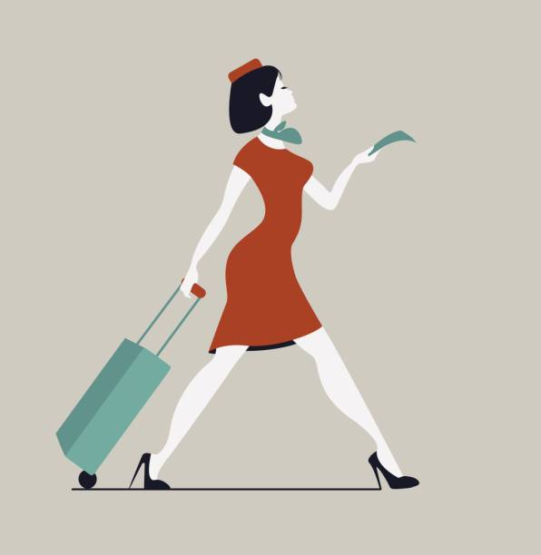 Stewardess with luggage. Woman with baggage and ticket vector art illustration