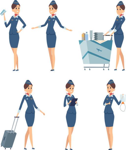 stockillustraties, clipart, cartoons en iconen met stewardess. vrouw hostess professional blauw uniform van boarding vliegtuig meisje vector stripfiguren - stewardess