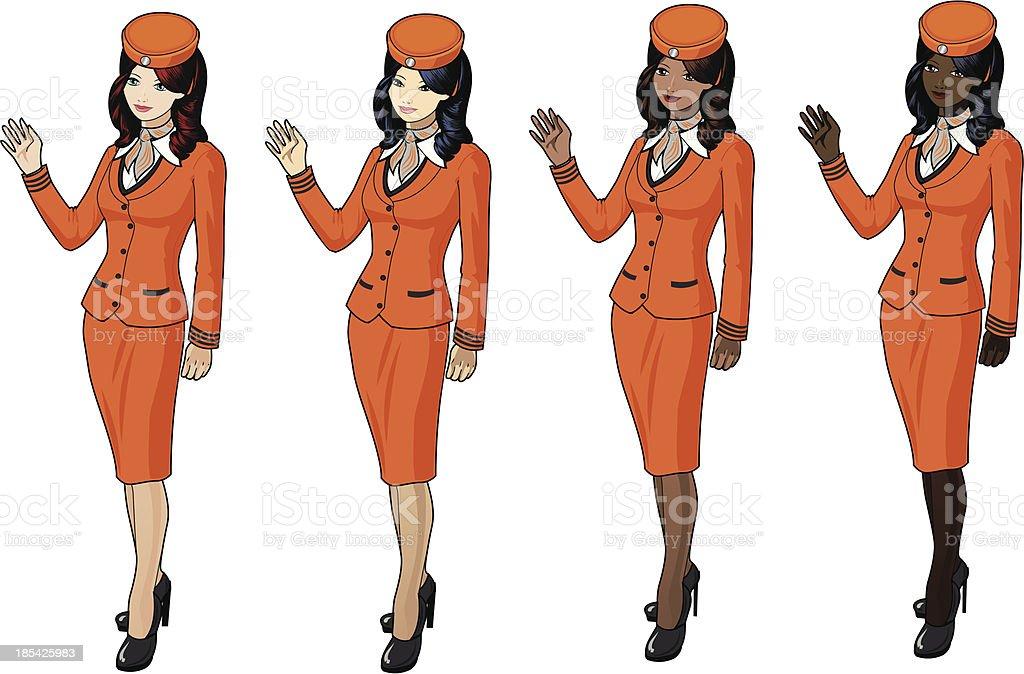 Stewardesses in orange suits royalty-free stock vector art