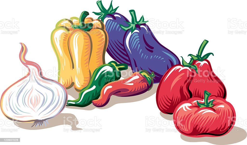Stewed peppers vector art illustration