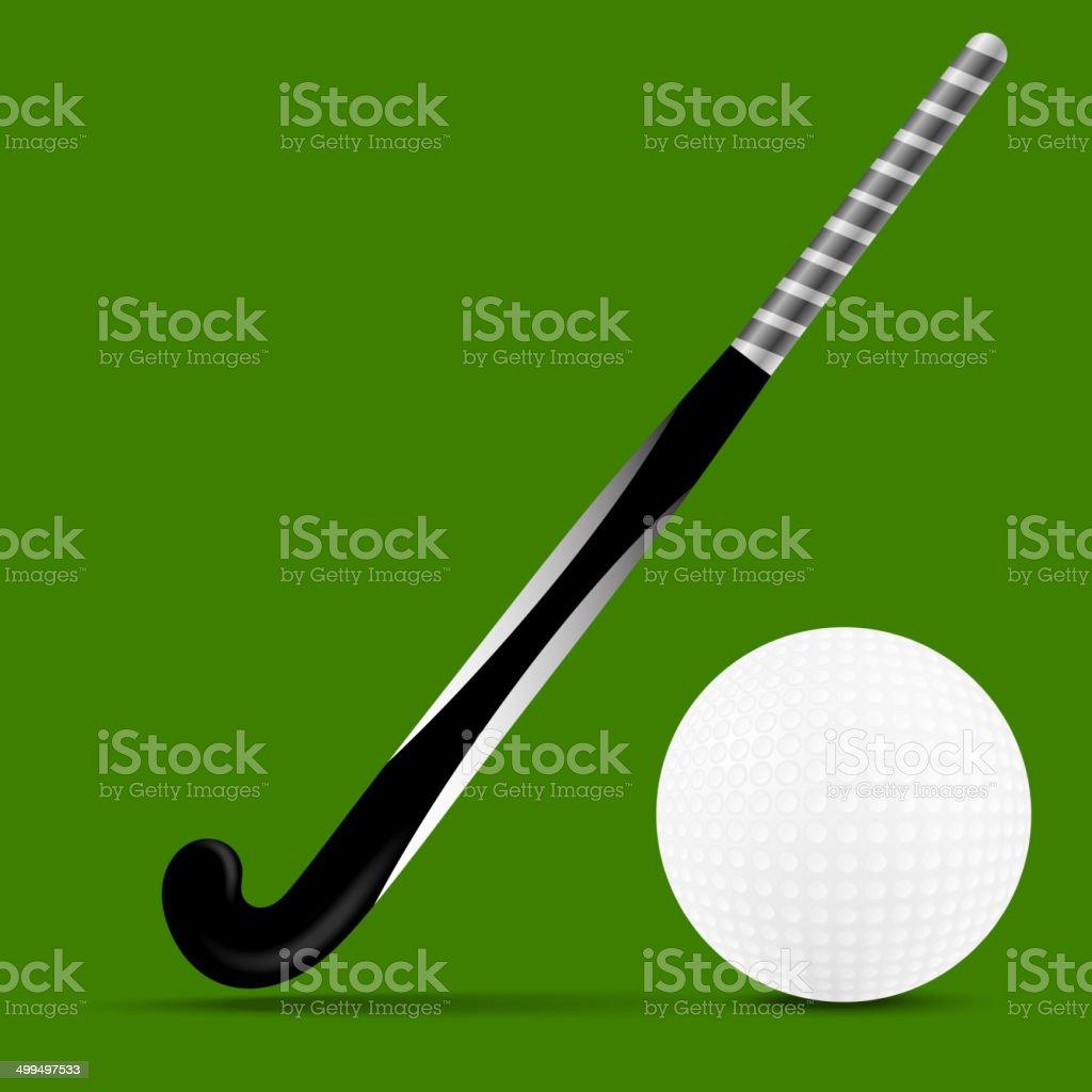 Stick and ball field hockey vector art illustration