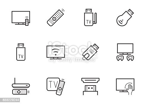 TV stick and box vector icon set in thin line style
