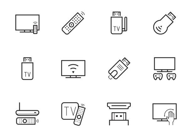 stockillustraties, clipart, cartoons en iconen met tv stick en vak vector pictogrammenset in dunne lijnstijl - hdri landscape