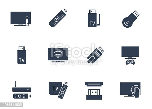 TV Stick and Box Vector Icon Set