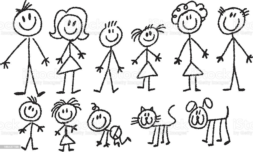 Stick Family Stock Vector Art & More Images of Adult ...