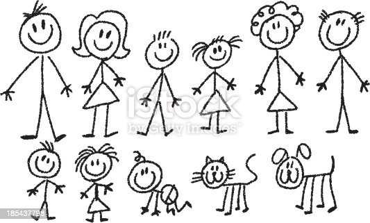 simple stick figure family