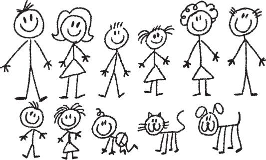 Контурное изображение семьи