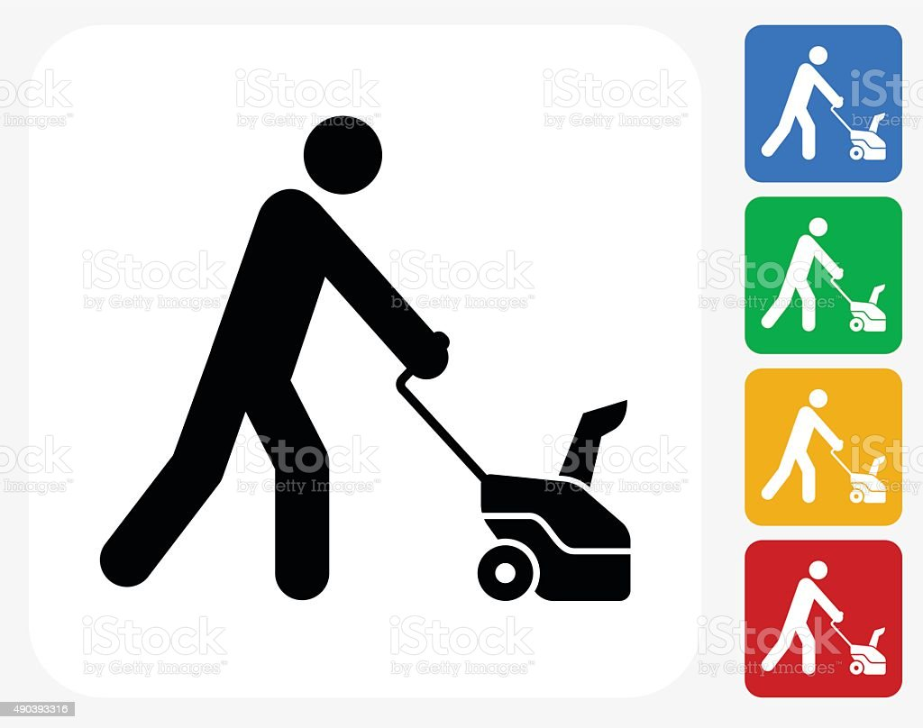 Stick Figure and Grass cutter Icon Flat Graphic Design vector art illustration