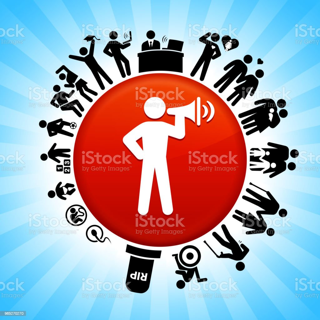 Stick Figure and Megaphone  Lifecycle Stages of Life Background royalty-free stick figure and megaphone lifecycle stages of life background stock vector art & more images of adolescence