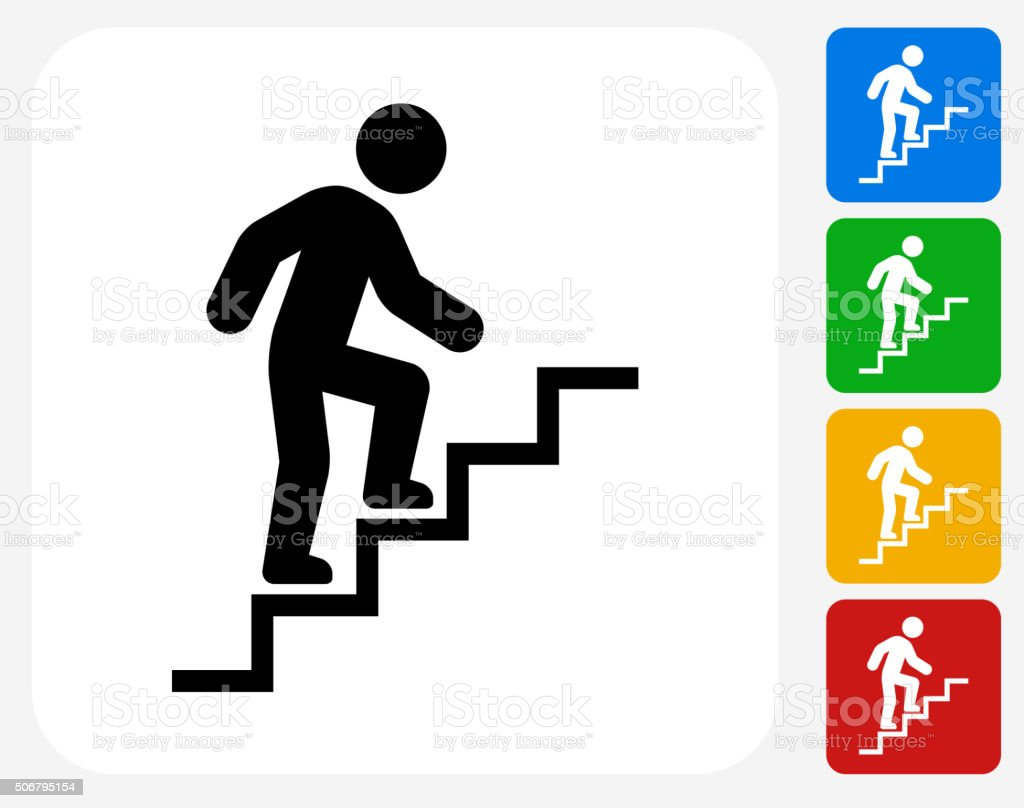 Stick Figure and Stairs Icon Flat Graphic Design vector art illustration