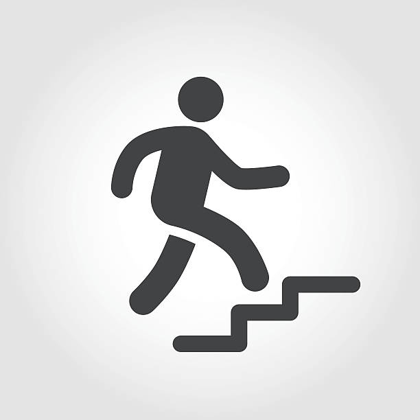 Stick Figure and Stairs Icon - Iconic Series Graphic Elements, Stick Figure and Stairs,  stepping stock illustrations