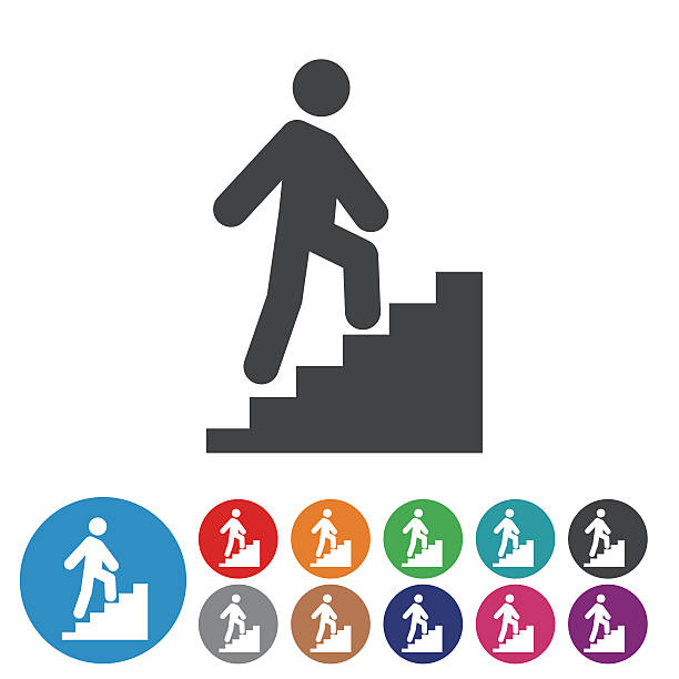illustrations, cliparts, dessins animés et icônes de stick figure and stairs icons - graphic icon series - escalier