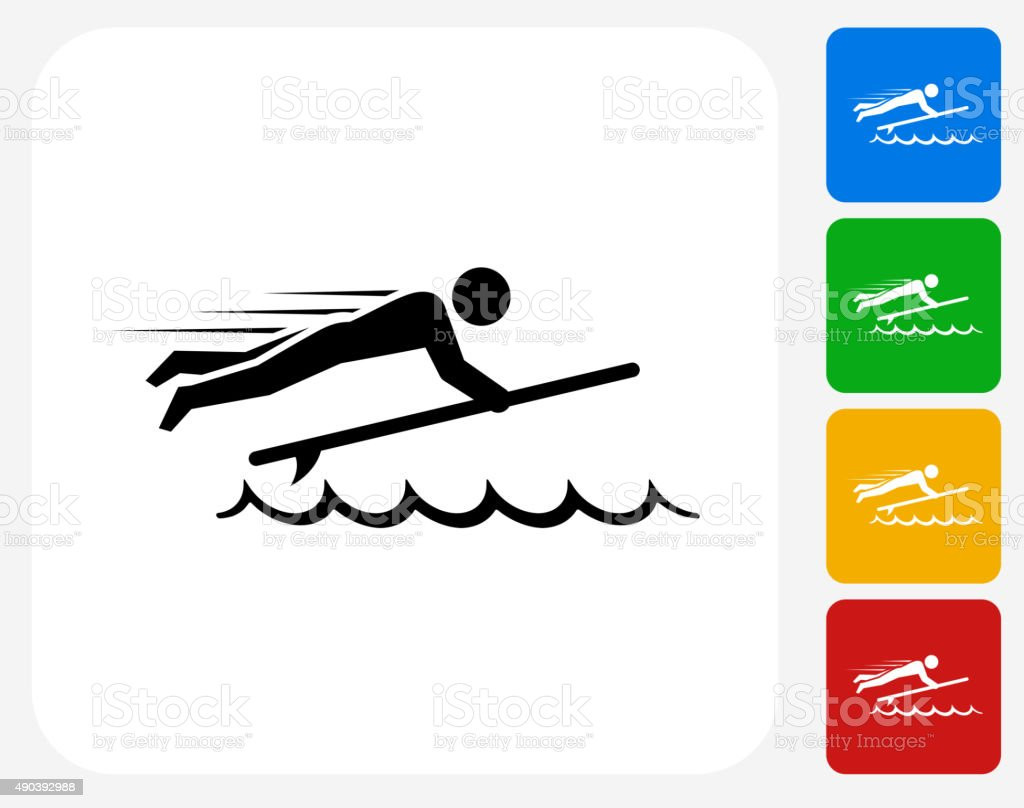 Stick Figure and Surfboard Icon Flat Graphic Design vector art illustration