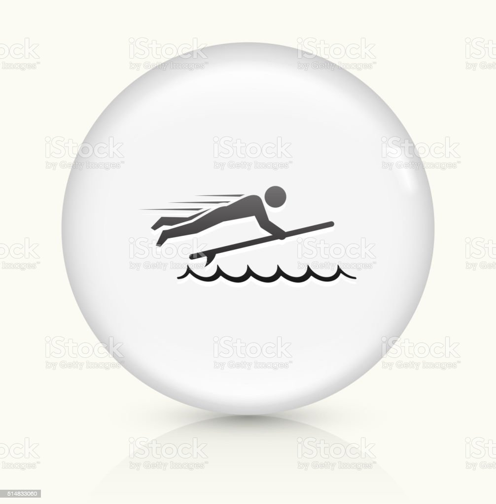 Stick Figure and Surfboard icon on white round vector button vector art illustration