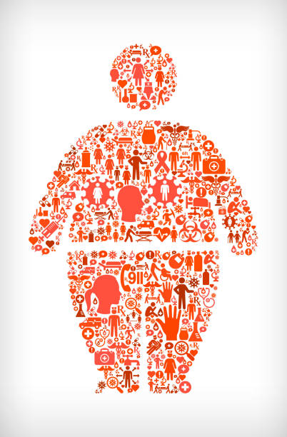 Stick Figure and Weight Gain Flu Coronavirus Icon Pattern Stick Figure and Weight Gain Flu Coronavirus Icon Pattern. The main shape is filled with red coronavirus covid-19 icon pattern. The icons vary in size and shades of the red color. pattern stock illustrations