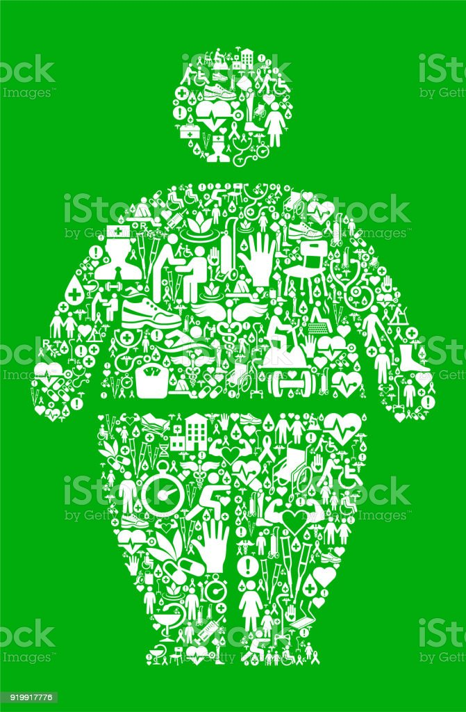 Stick Figure and Weight Gain Green Medical Rehabilitation Physical Therapy vector art illustration