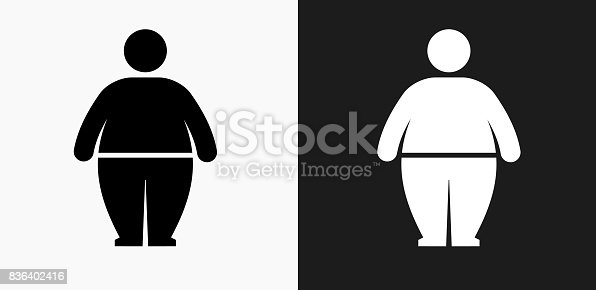 istock Stick Figure and Weight Gain Icon on Black and White Vector Backgrounds 836402416