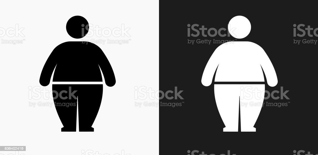 Stick Figure and Weight Gain Icon on Black and White Vector Backgrounds vector art illustration