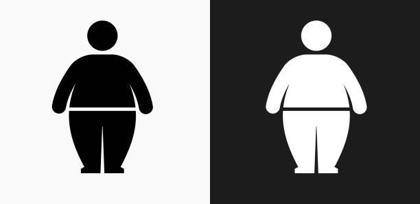 illustrazioni stock, clip art, cartoni animati e icone di tendenza di stick figure and weight gain icon on black and white vector backgrounds - obesity