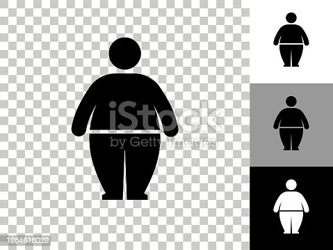 istock Stick Figure and Weight Gain Icon on Checkerboard Transparent Background 1254618022