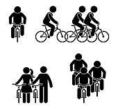 Stick figure bicycle race pictogram. Sport activity fitness icon