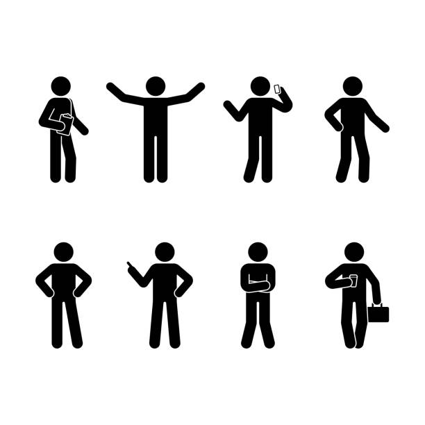 stick figure business man standing set. vector illustration of different human poses on white - контурный рисунок stock illustrations
