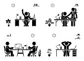 Stick figure business meeting icon set. Men and women working in office pictogram