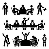 Stick figure business meeting set. Finance chart person pictogram icon. Employee solution marketing discussion