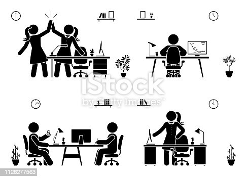 Stick figure business office vector icon silhouette on white. Men and women happy, working, sitting, reporting, writing people pictogram