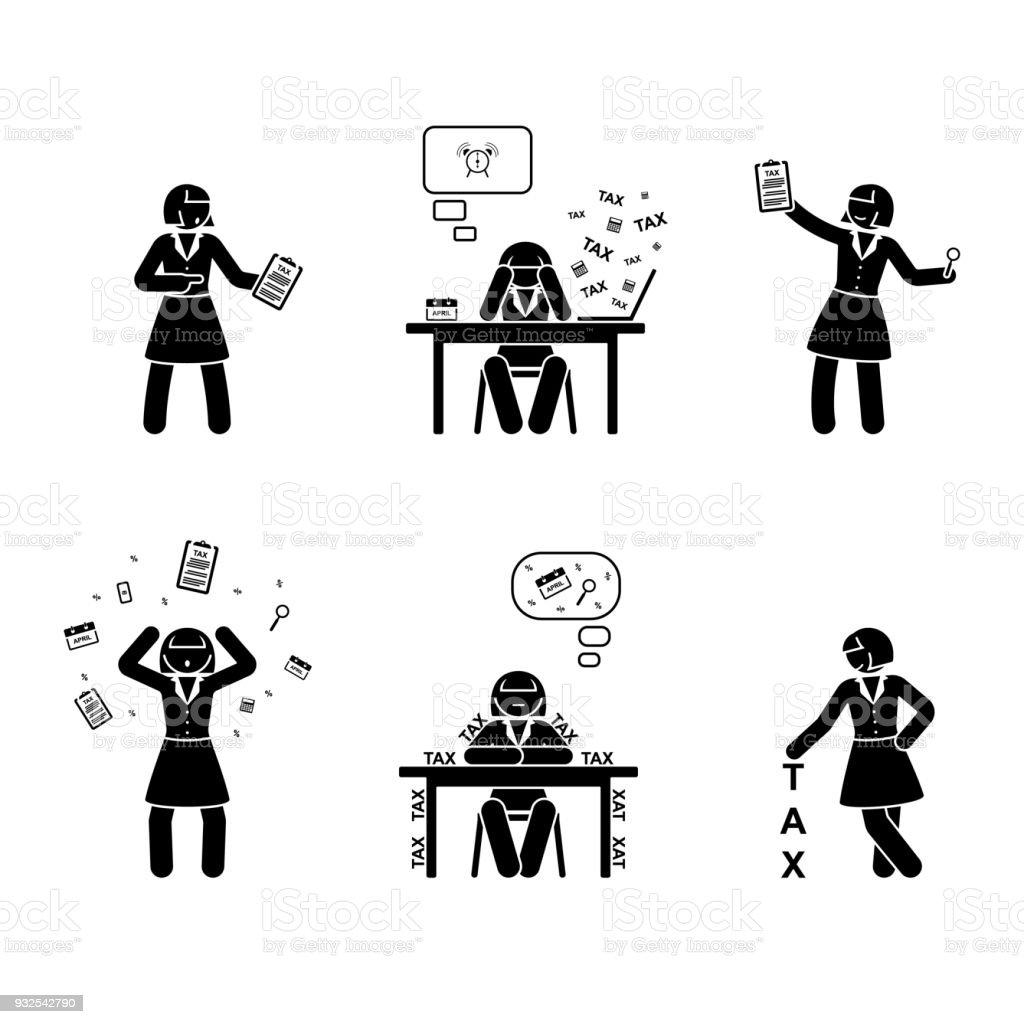 Strichmännchen Beschäftigt Buchhalter Frau Symbol Vektorillustration