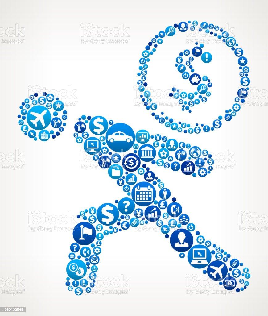 Strichmännchen Münze Geschäft Und Finanzen Blaues Symbol Muster