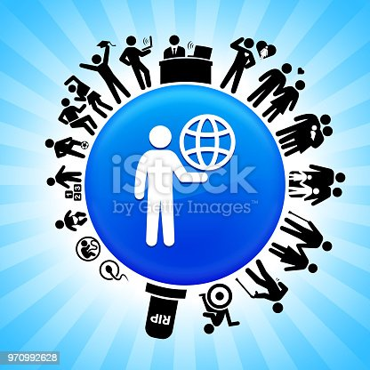 Stick Figure Carrying Globe Lifecycle Stages of Life Background. The icon is placed on a circle button. Icons of life from conception to old surround the large shiny round button in the center of this 100 percent royalty free vector illustration. The button is placed against a blue tar burst background. The illustration shows speaks to the