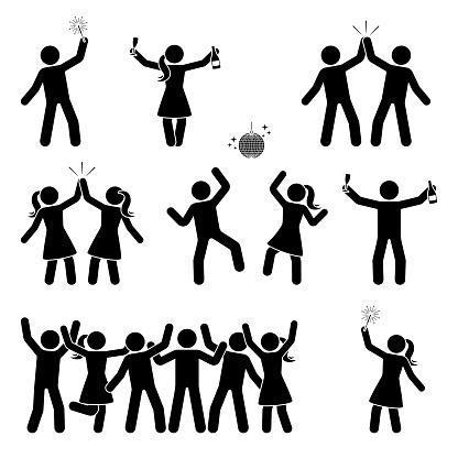 Stick figure celebrating people icon set. Happy men and women dancing, jumping, hands up pictogram clipart