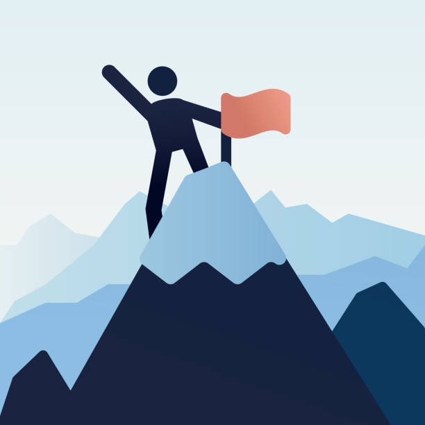 Stick figure character icon on top of the mountain snowy peak with a flag. Vector illustration design vector art illustration