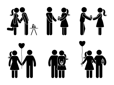Stick Figure Couple With Gift Set Man And Woman In Love