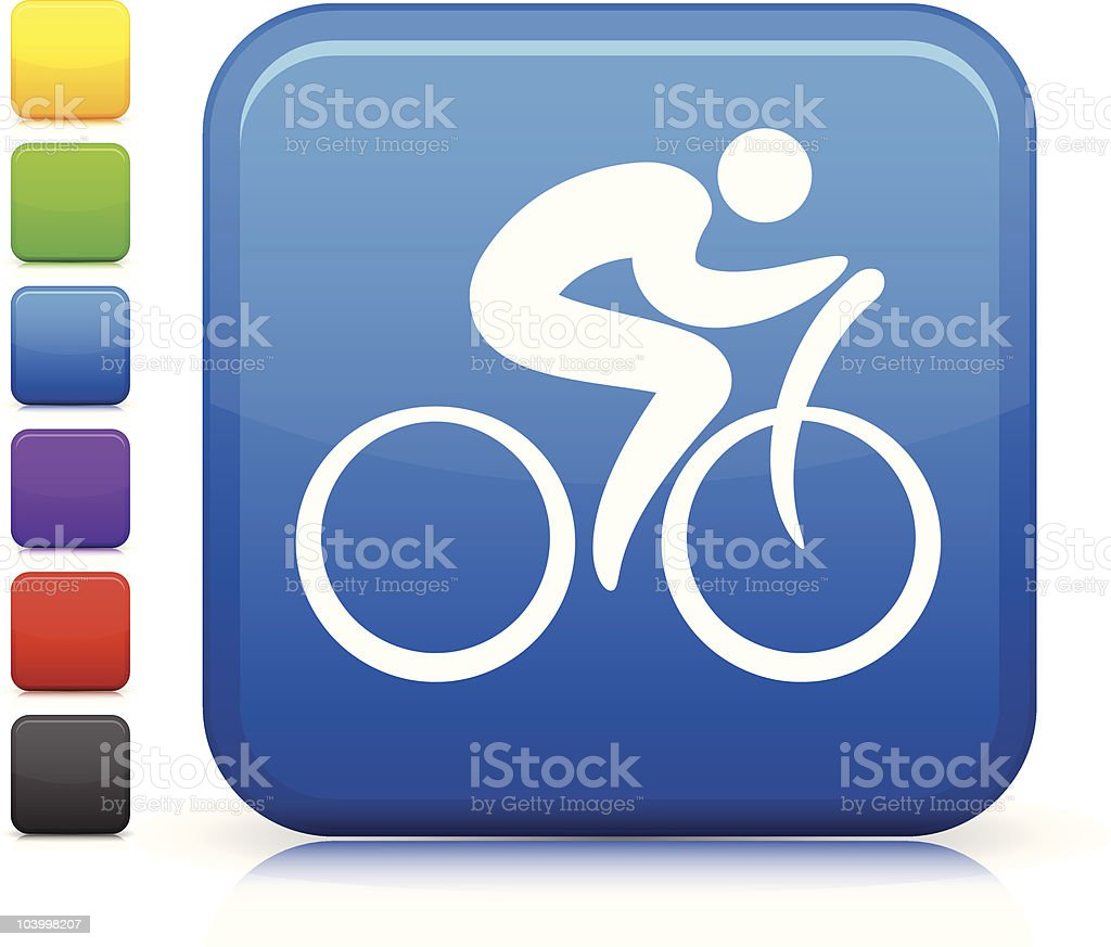 stick figure cyclist square internet button icon royalty-free stock vector art