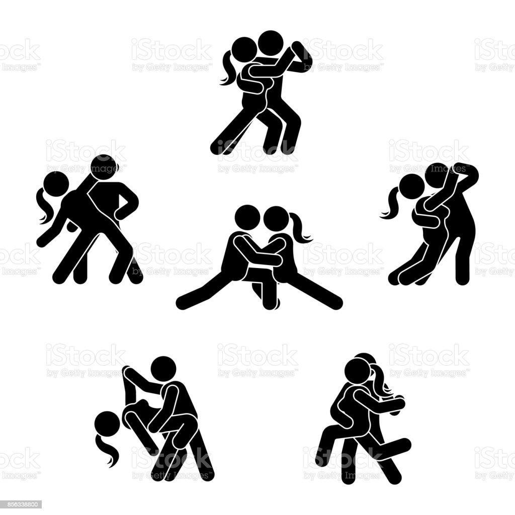 Strichmännchen Tanzpaar Festgelegt Mann Und Frau In Liebe Abbildung