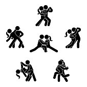 Stick figure dancing couple set. Man and woman in love illustration on white. Boyfriend and girlfriend kissing, hugging, cuddling and holding hand pictogram