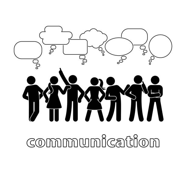 stick figure dialog communication speech bubbles set. talking, thinking, body language group of people conversation icon pictogram - communication problems stock illustrations, clip art, cartoons, & icons